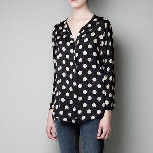 Zara basic b/c polka dot zipper top XS